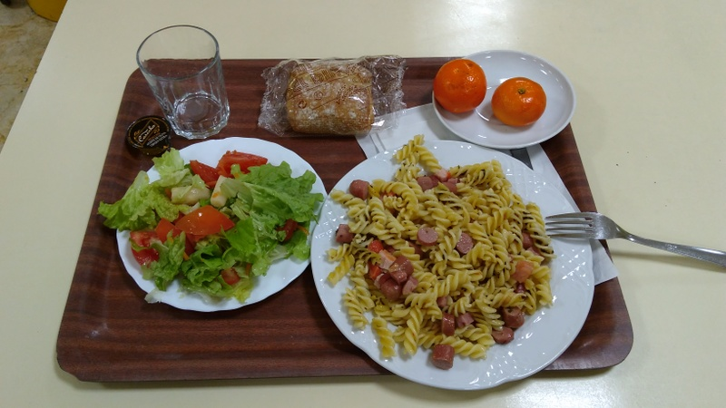 A student menu as a pre-Brevet dinner, salad and pasta with meat