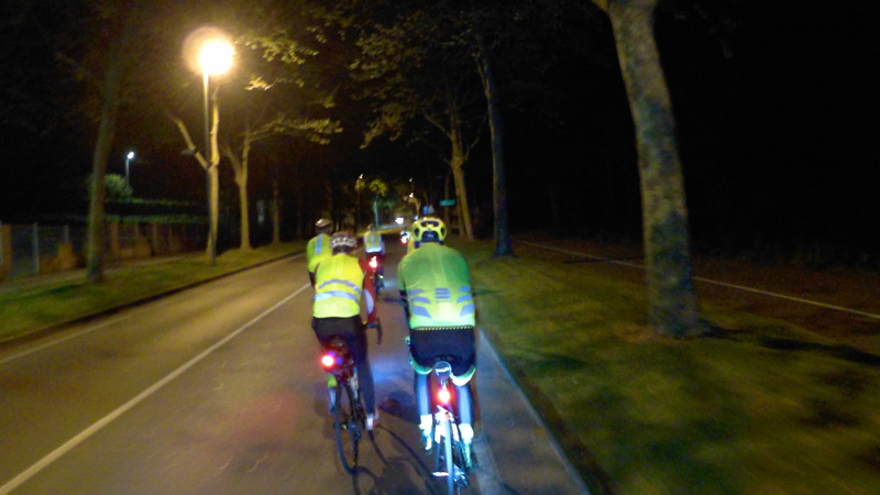 Riding in the dark, within the big group