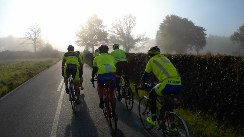 Small group riding in the fog