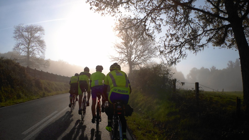 Small group riding in the fog (2)