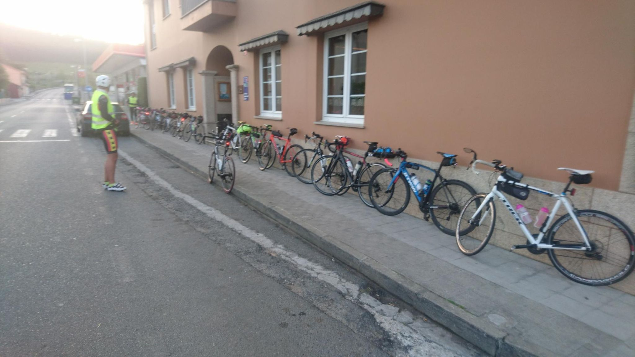 All bikes parked at the café in Irixoa (1)