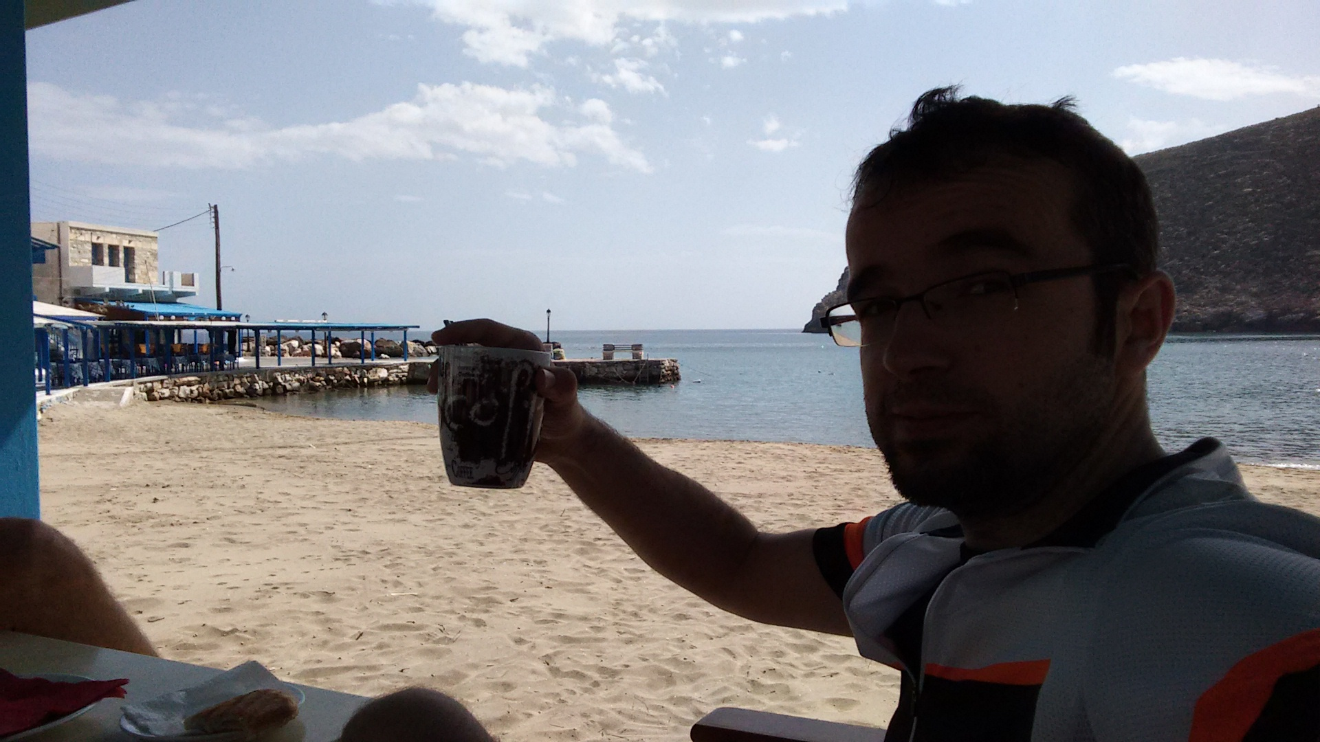 Coffee break at Apollonas, cheers!