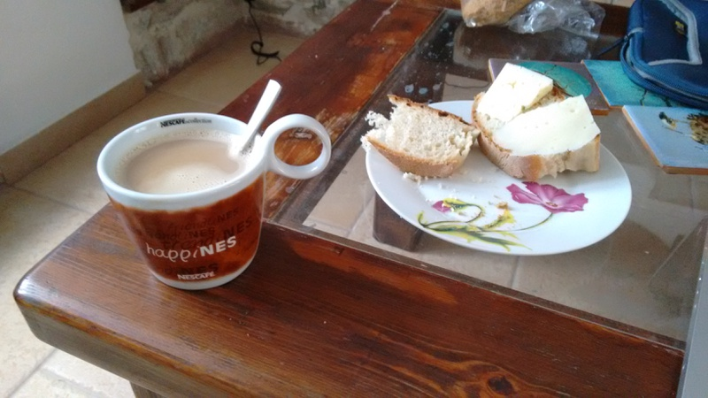 Breakfast, coffee, milk, bread and cheese