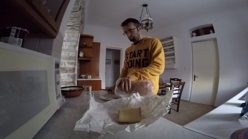 Preparing the bread and the cheese