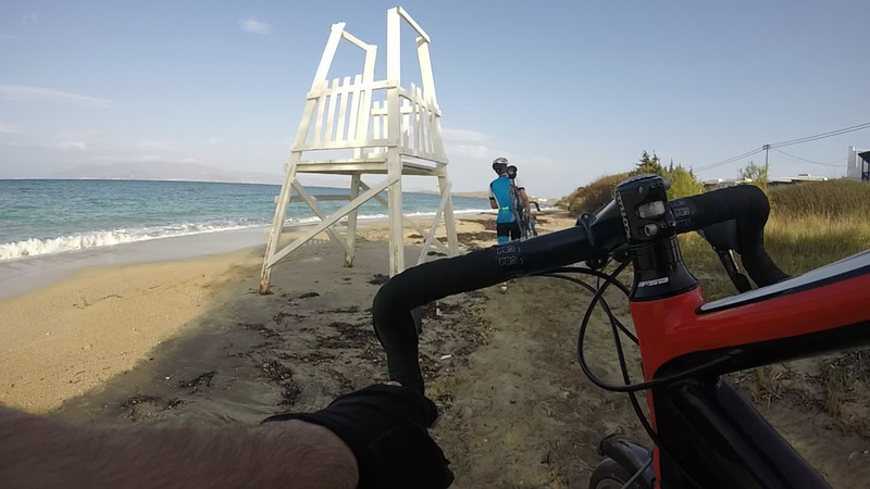 Taking the bikes to the beach, by the watch tower