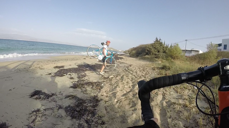 Taking the bikes to the beach, sand and sea
