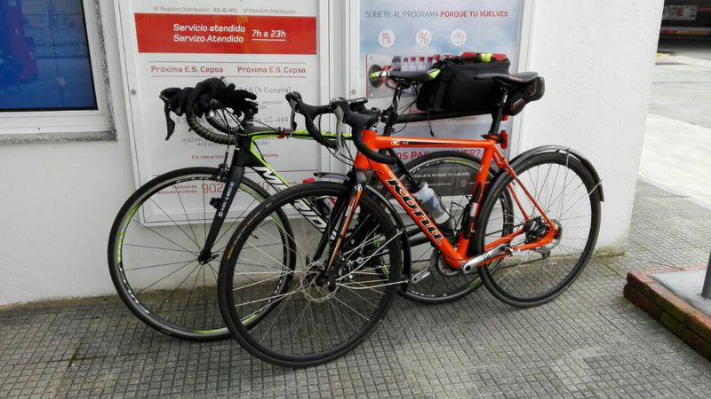 Alvaro's Merida bike and my Jake side by side at the third control point