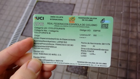 My cycling federation card/ID!!