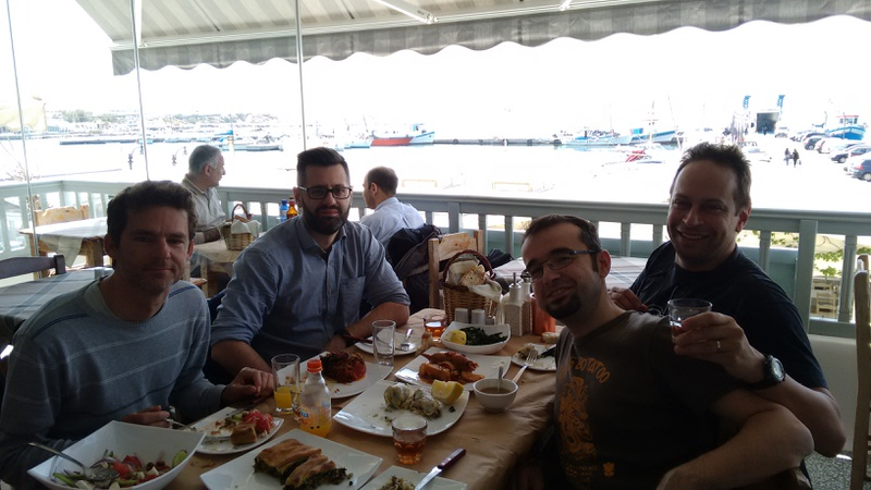 Sascha, Oscar, Panos and me, having lunch with views of the port of Naxos