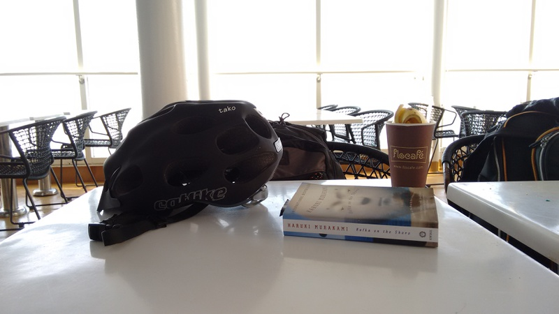 Relaxed travel by boat, I had the cycling helmet and a good book with me
