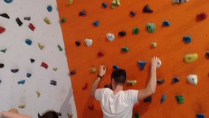 Oscar at the climbing/bouldering gym