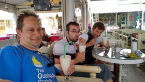 Panos, me and Sascha, enjoying some milkshakes after the social ride