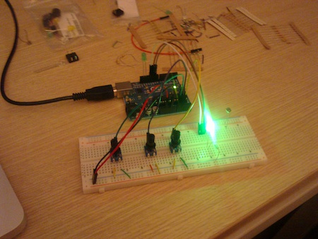 Using the potentiometers it was easy to modify the color of the LED's light
