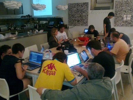 BEWARE: highly focused people working with arduino boards!