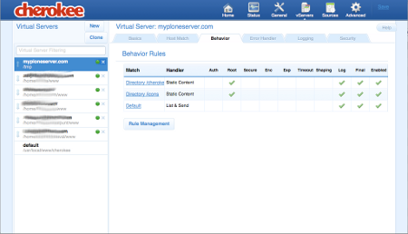 Once we've added the new virtual server, we can edit it and complete its configuration