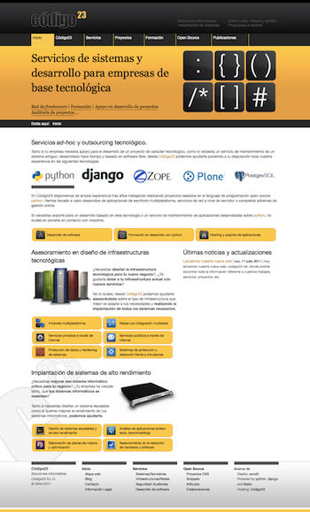 The index page of the new codigo23.net site