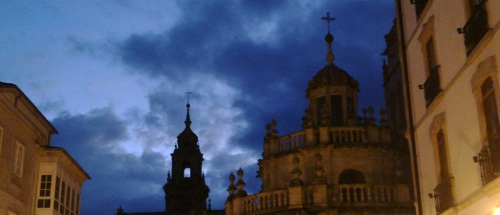 This is a view of the upper part of the Cathedral of Lugo at night, I took it on the first days of october