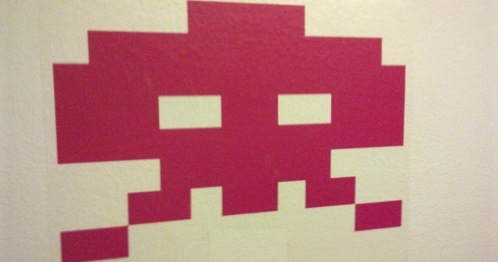 A pink invader, usually one located in the bottom lines